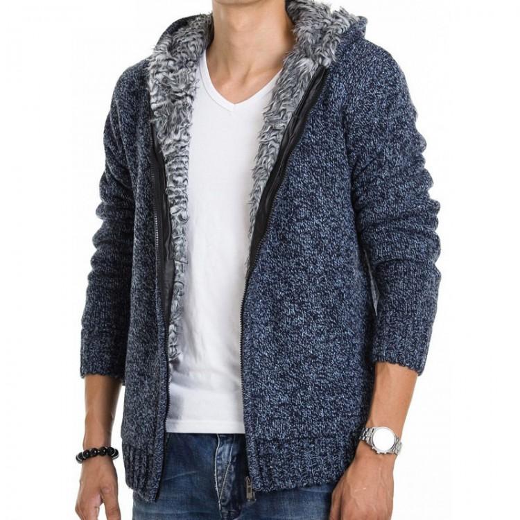 Fleece lined knit hoodie