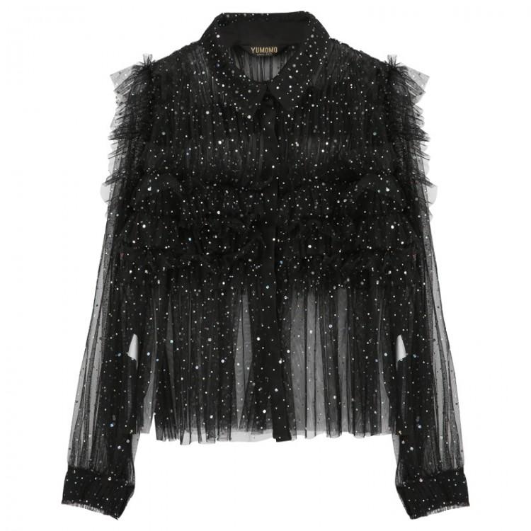 Mesh twofer black sequins blouse