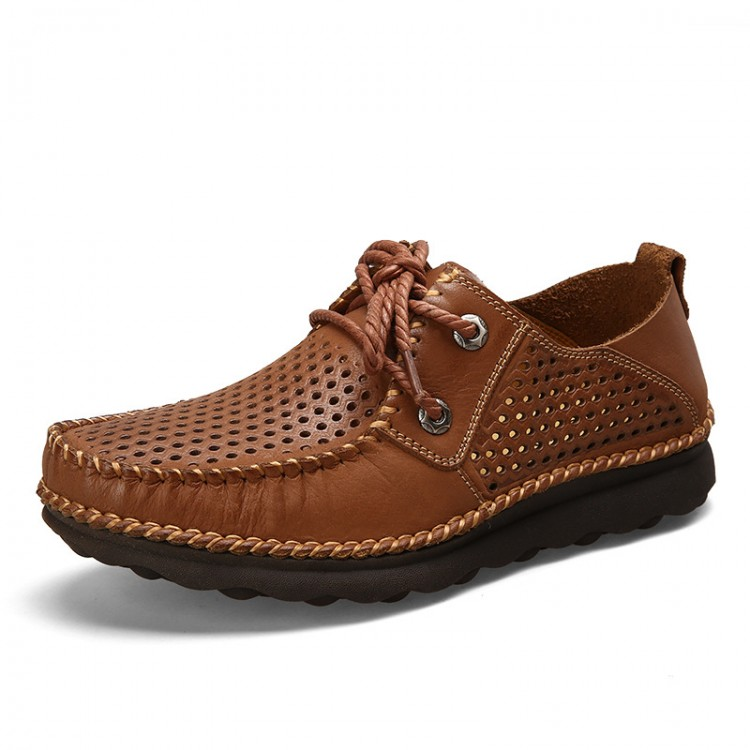 Men's Leather Moccasins Lace-up