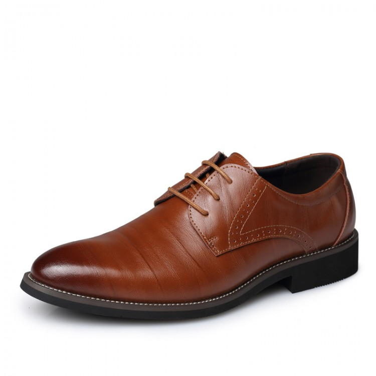Men's Leather Shoes Brogue Shoes Low-help