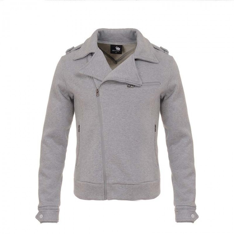 Men flocking side zipper jacket