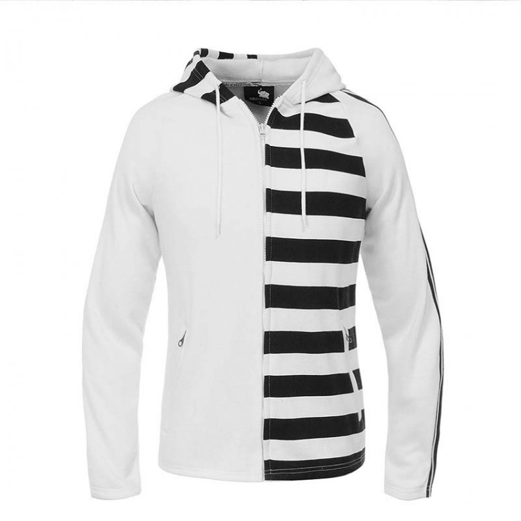 men's striped flocking hoodie