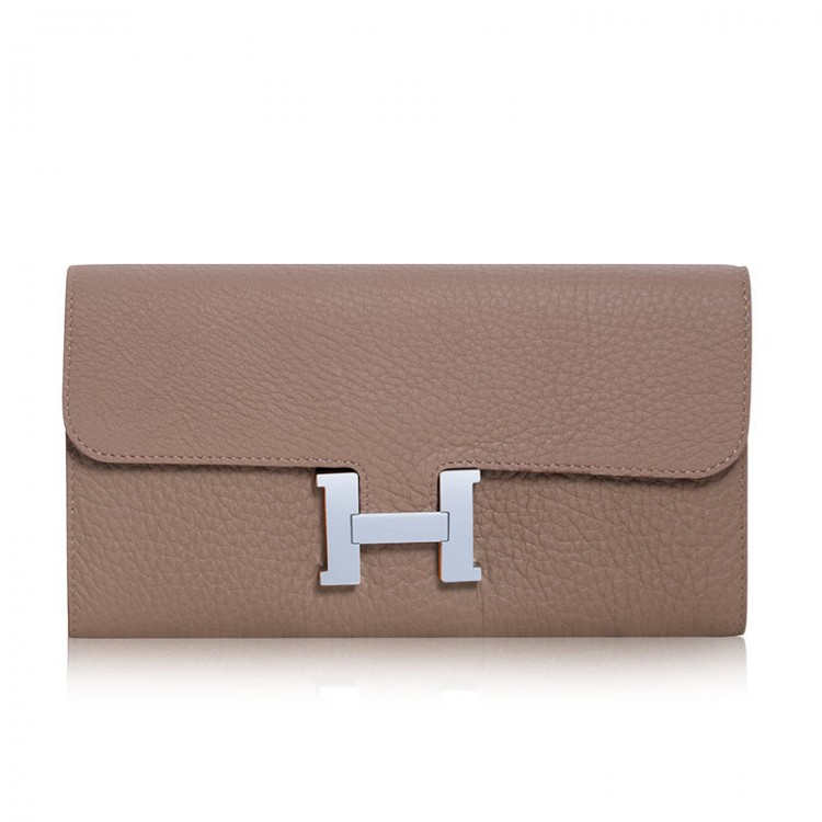 "Grainy leather wallet ""H"" lock"