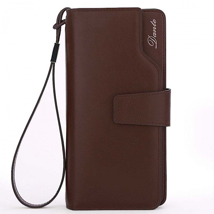 Grainy Leather Wallet Bifold With Wrist Strap